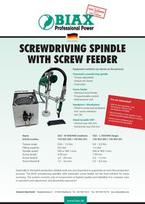 Screw driving spindle with screw feeder